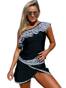 Ericdress Oblique Collar Tribal Geometric Print Falbala Tankini Set