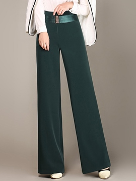 Ericdress Pure Color Belt Wide Legs Pants