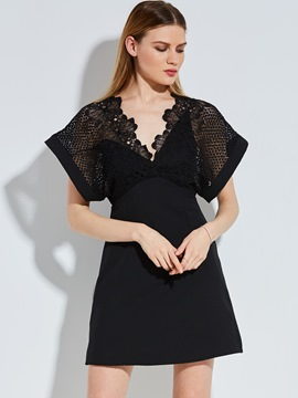 Hollow Lace Patchwork Women's Day Dress