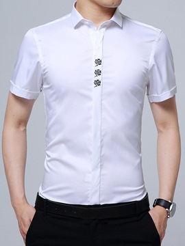 Ericdress Embroidery Short Sleeve Anti Wrinkle Slim Men's Shirt