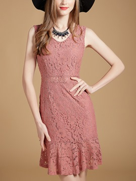 Ericdress Plain SleevelessMermaid Close-Fitting Lace Dress