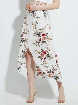 High-Waist Flower Print Asymmetric Women's Skirt