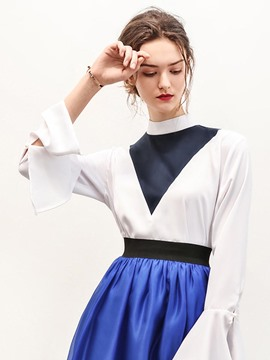Ericdress Stand Collar Bell Sleeve Blouse