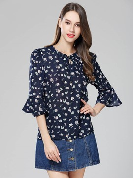 Ericdress Floral Print Bell Sleeve Chiffon Blouse