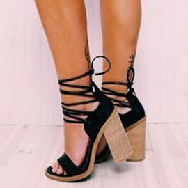 Ericdress Cross Strap Open Toe Chunky Heel Sandals