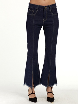 Ericdress Mid-Waist Dark Blue Bellbottoms Jeans
