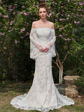 Ericdress Mermaid Lace Off Shoulder Bateau Long Sleeves Wedding Dress