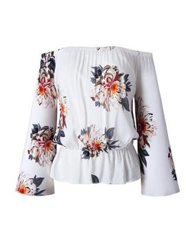 Ericdress Floral Print Off-Shoulder Sexy Bell Sleeve Blouse