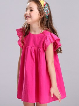 Ericdress Plain Ruffle Sleeve 3-6Y Cotton Girls Dress