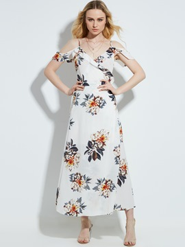 Ericdress V-Neck Flower Print Backless Maxi Dress