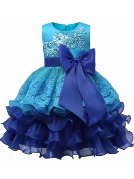 Ericdress Tea Length Ball Gown Tiered Ruffles Flower Girl Party Dress