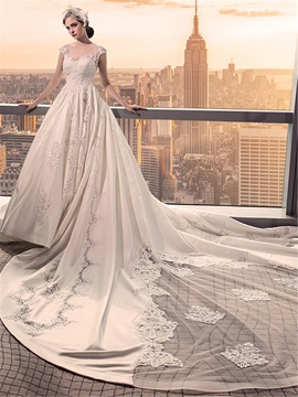 Ericdress Luxury A-Line V-Neck Cathedral Train Wedding Dress