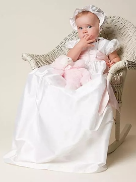 Ericdress Simple Gorgeous Baby Girls Baptism Christening Gown with Bonnet