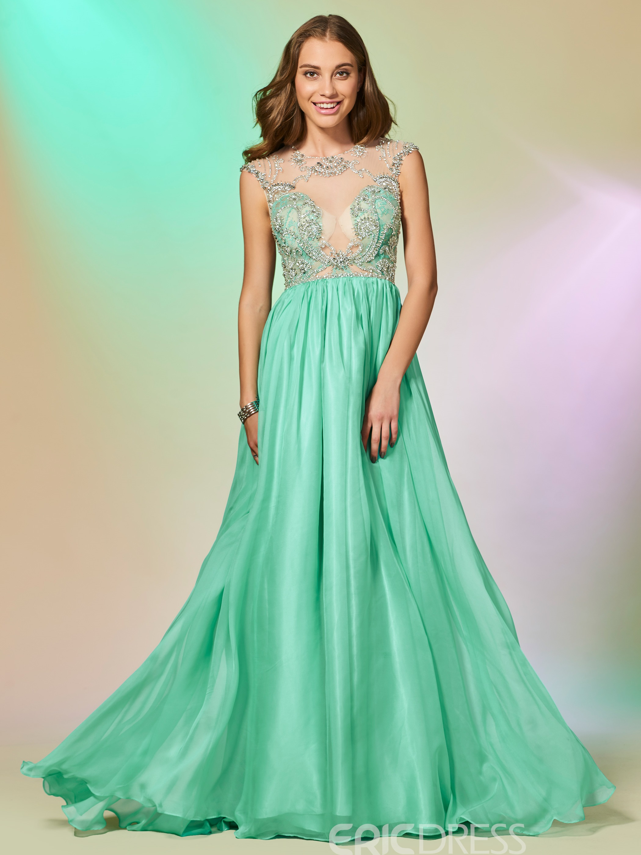 f4a68adc47d Ericdress A Line Cap Sleeve Beaded Backless Prom Dress