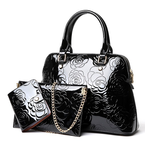 Ericdress Rose Embossing Patent Leather Handbags (3 Bags)