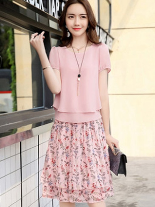 Ericdress Floral Pleated Pullover Round Neck Shirt And Skirt Two Piece Sets