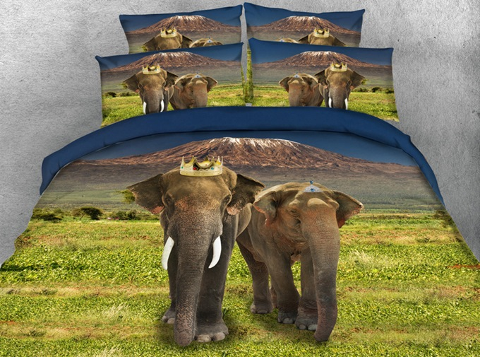 King and Queen Elephant Printed 3D 4-Piece Bedding Sets/Duvet Covers