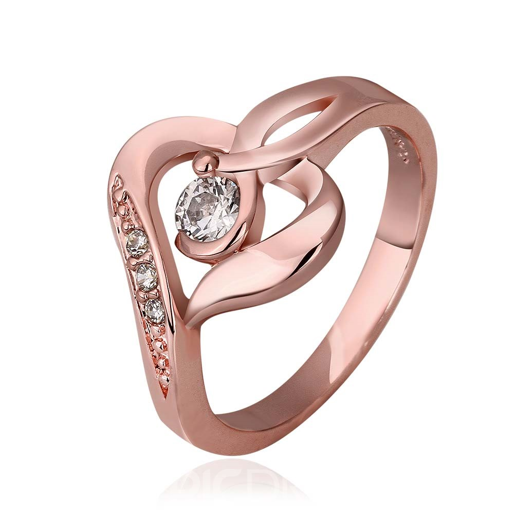Ericdress Unique Design Rose Gold Plated Diamante Wedding Ring