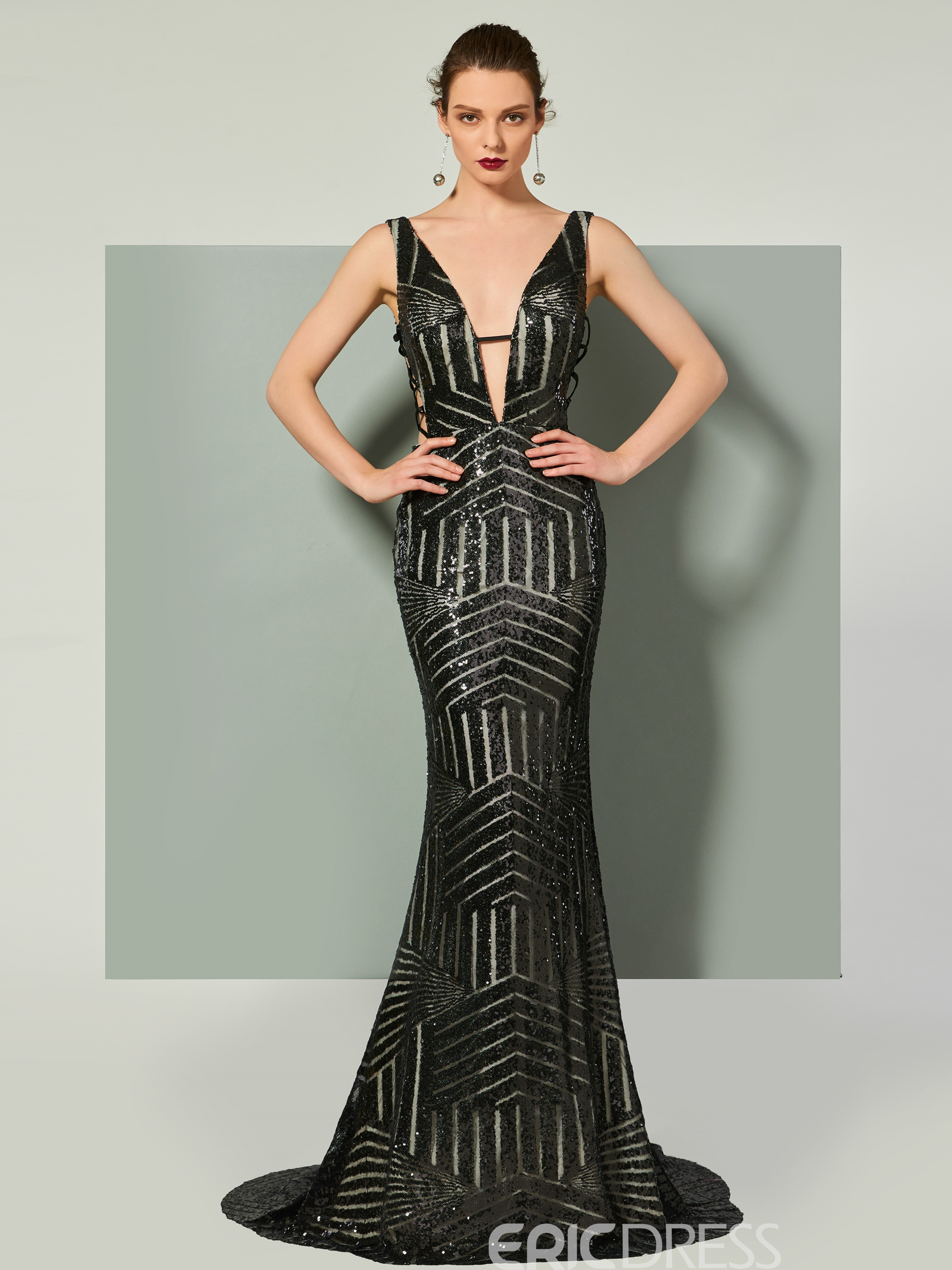 b94929b438aa Ericdress V Neck Sequin Backless Mermaid Evening Dress With Court Train