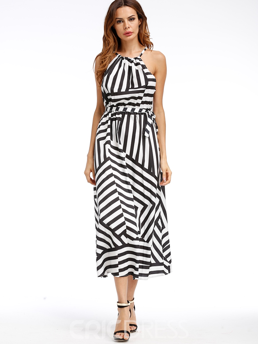Ericdress Vertical Striped Sleeveless Expansion Maxi Dress