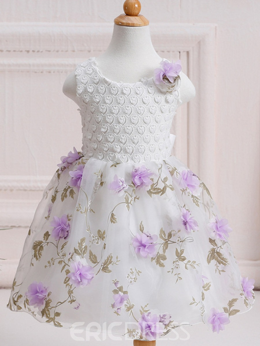 Ericdoress Embroidery Appliques Mesh Sleeveless Girls Princess Dress