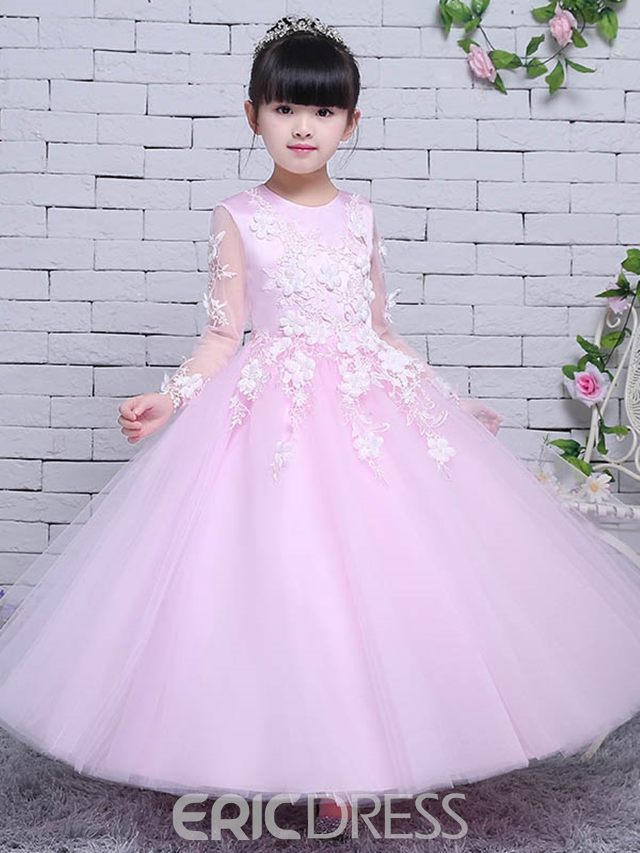 abc1d1068 Ericdress Tulle Lace Long Sleeves Ball Gown Flower Girl Party Dress ...