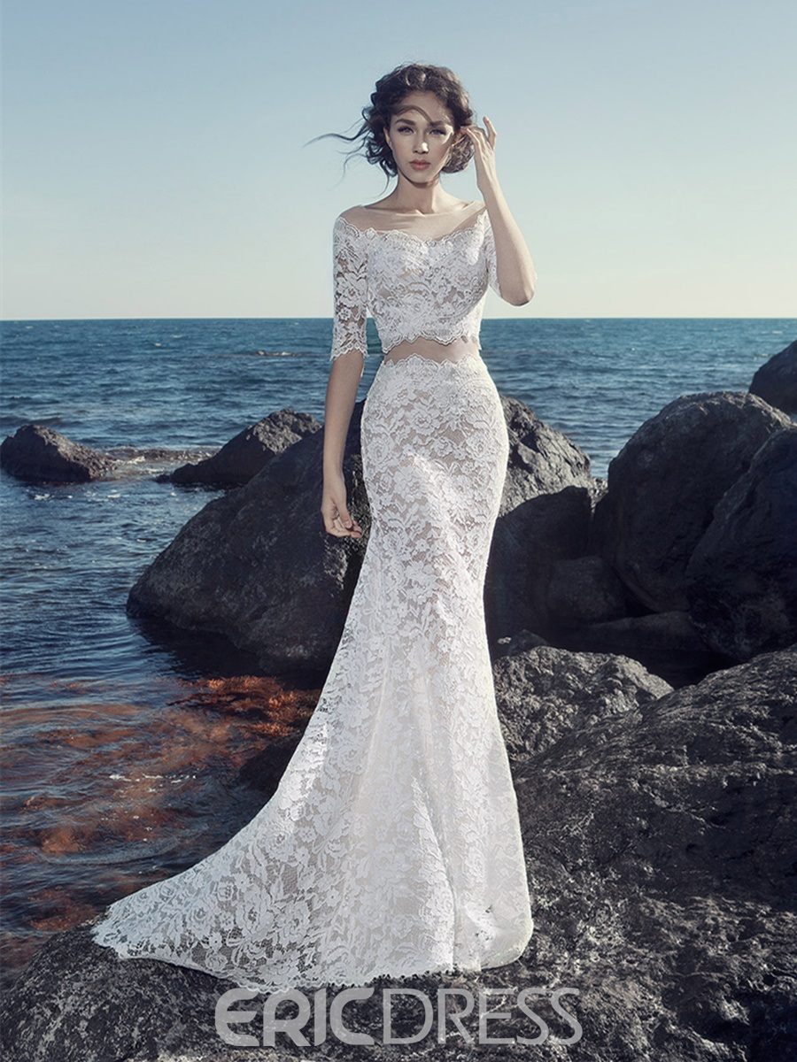Ericdress sexy lace bateau mermaid 2 pieces wedding dress for 2 piece wedding dresses
