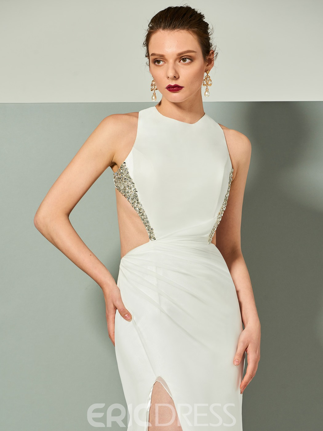 Ericdress Sexy Backless Beaded Side Slit Sheath Evening Dress