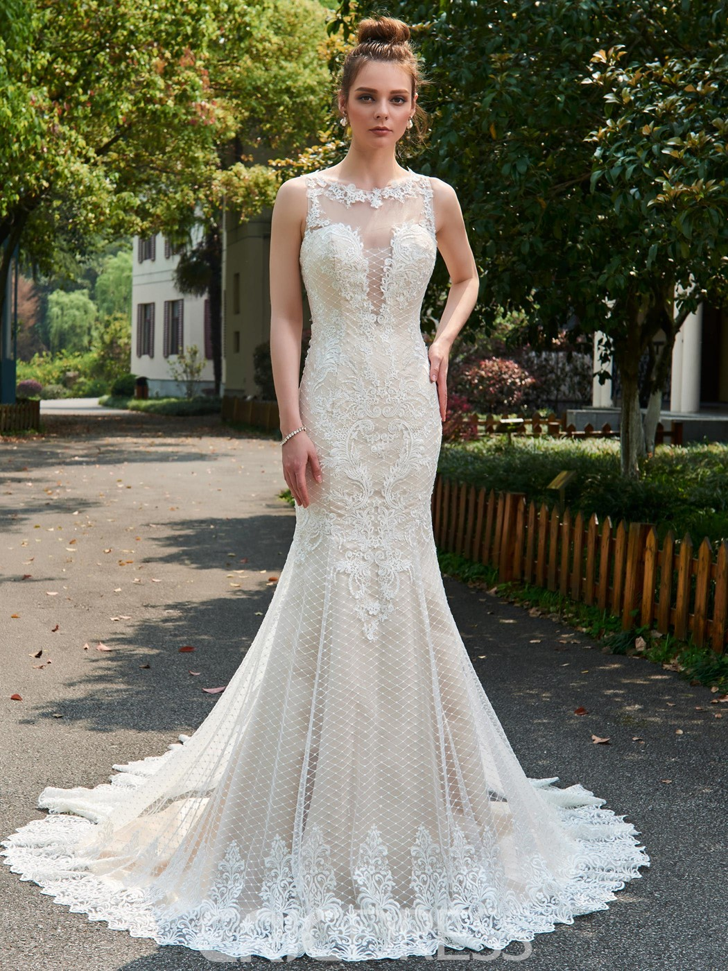 Ericdress Mermaid Tulle Jewel Backless Cathedral Train Wedding Dress