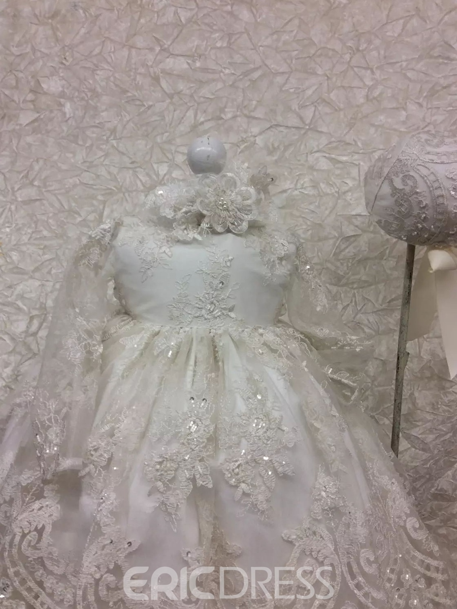 Ericdress Gorgeous Infant Baby Girls Beading Appliques Christening Gown with Bonnet