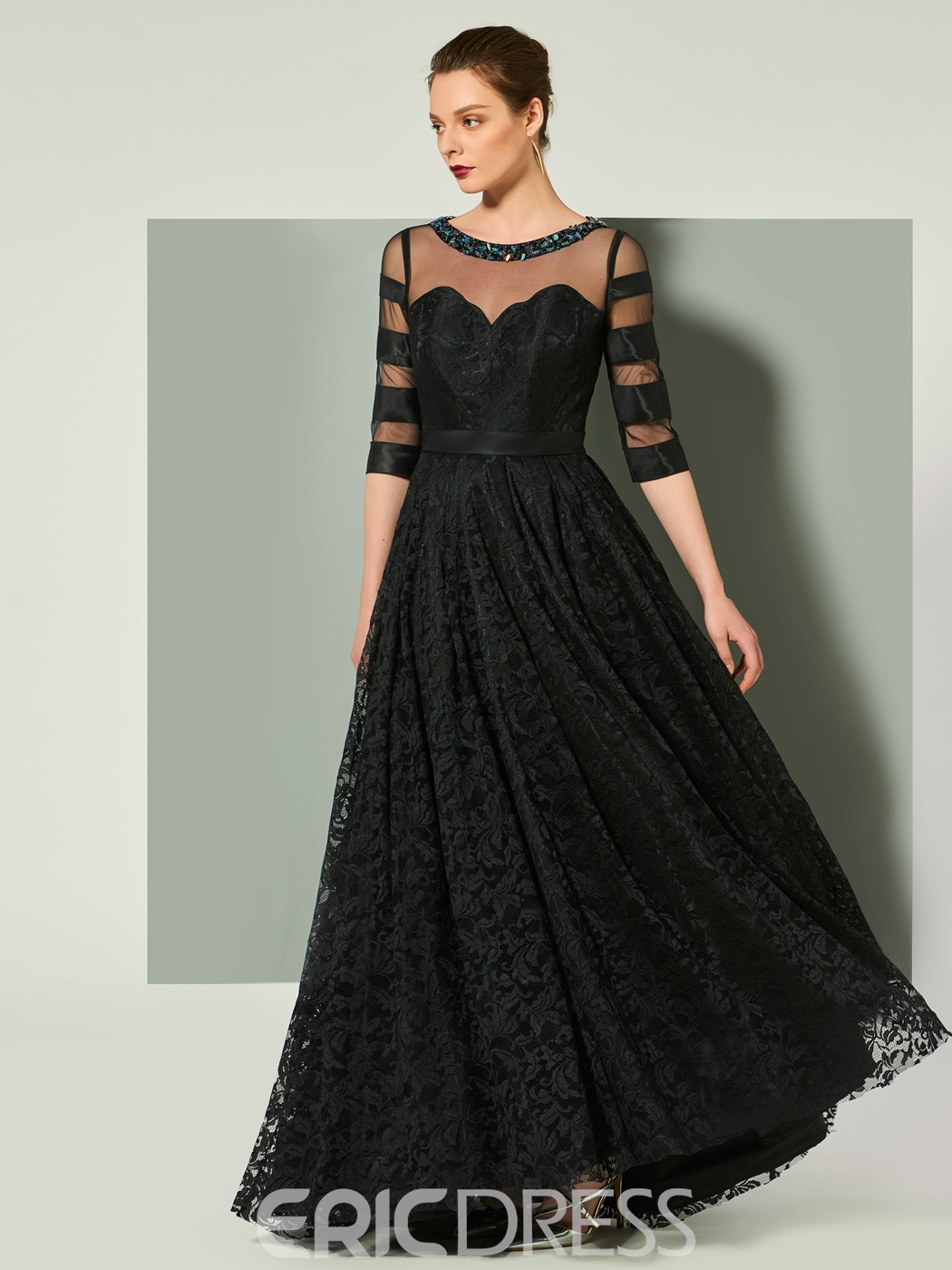 Ericdress A Line Half Sleeve Lace Evening Dress With Zipper-Up