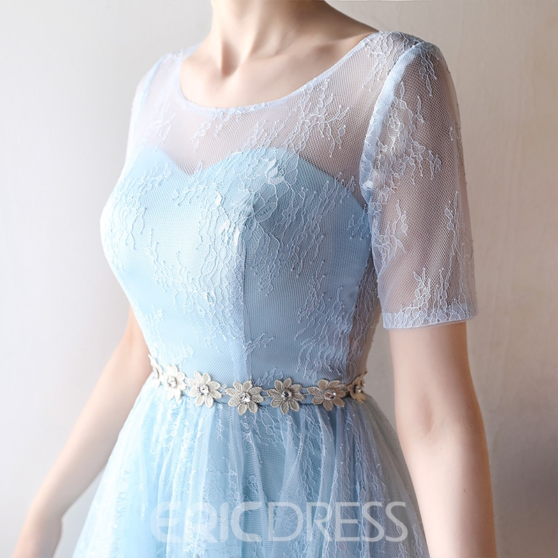 Ericddress A Line Short Sleeve High Low Lace Homecoming Dress