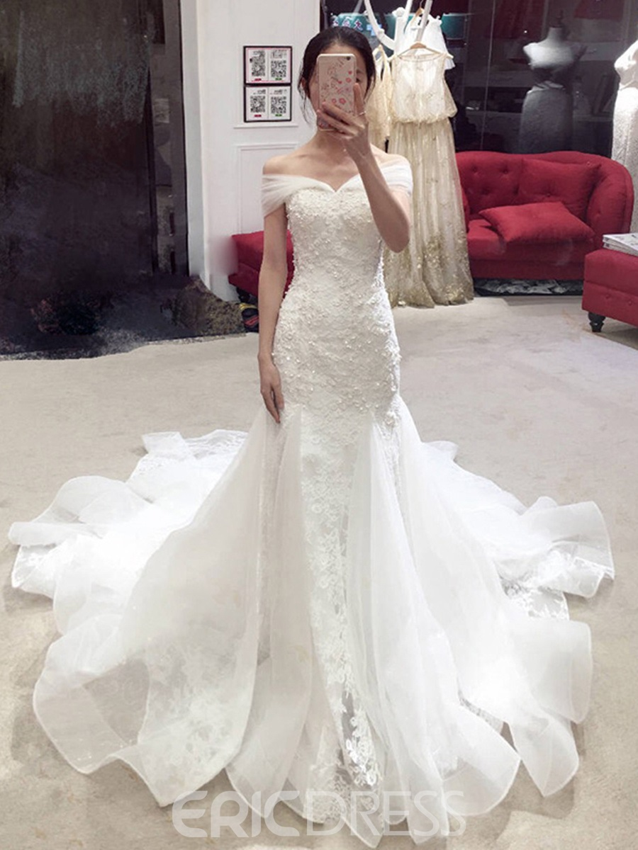Ericdress Mermaid Lace Beading Off Shoulder Wedding Dress with Train