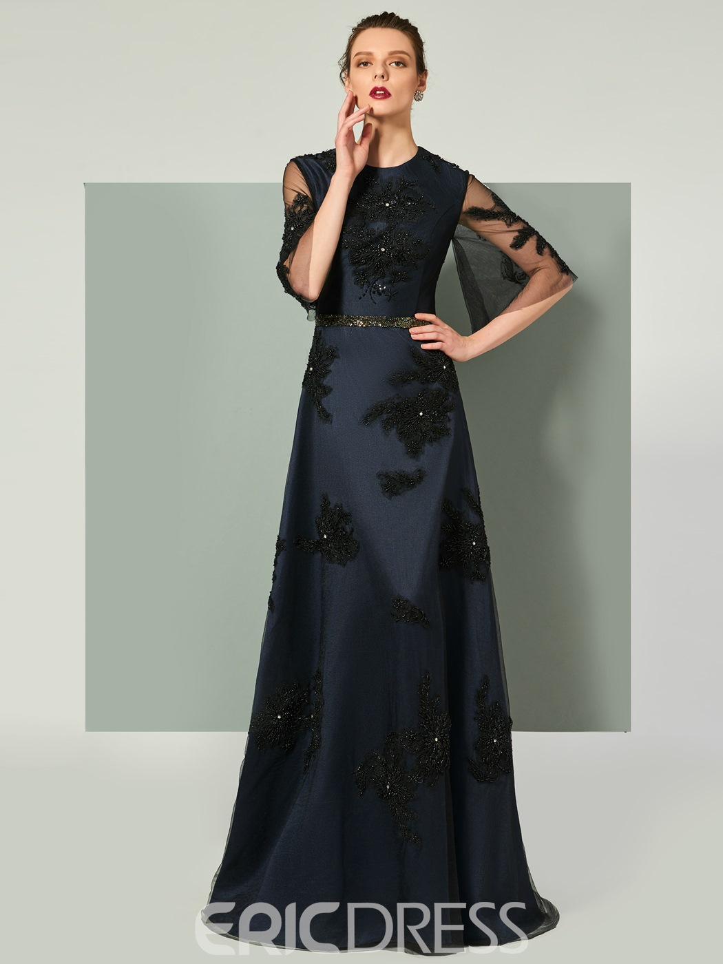 Ericdress A Line Half Sleeve Long Evening Dress With Beadings