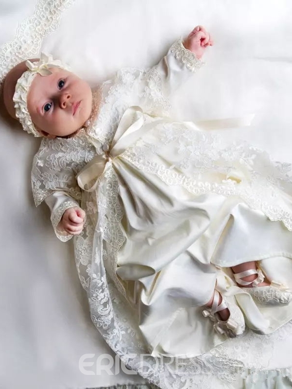 Ericdress Lovely Lace Baby Girls Christening Baptism Dress with Headpiece