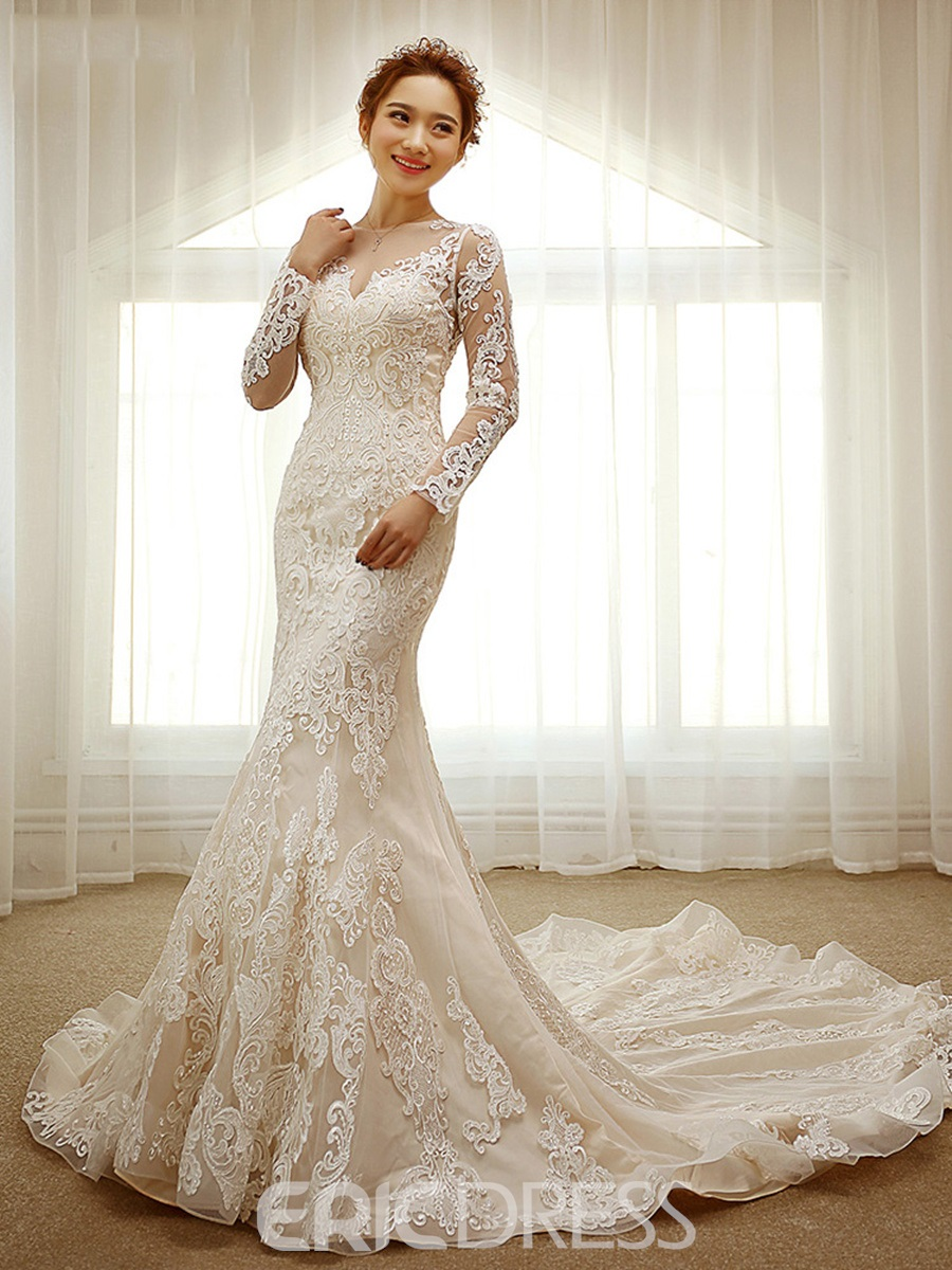 Ericdress Lace Appliques Long Sleeves Long Train Mermaid Wedding Dress