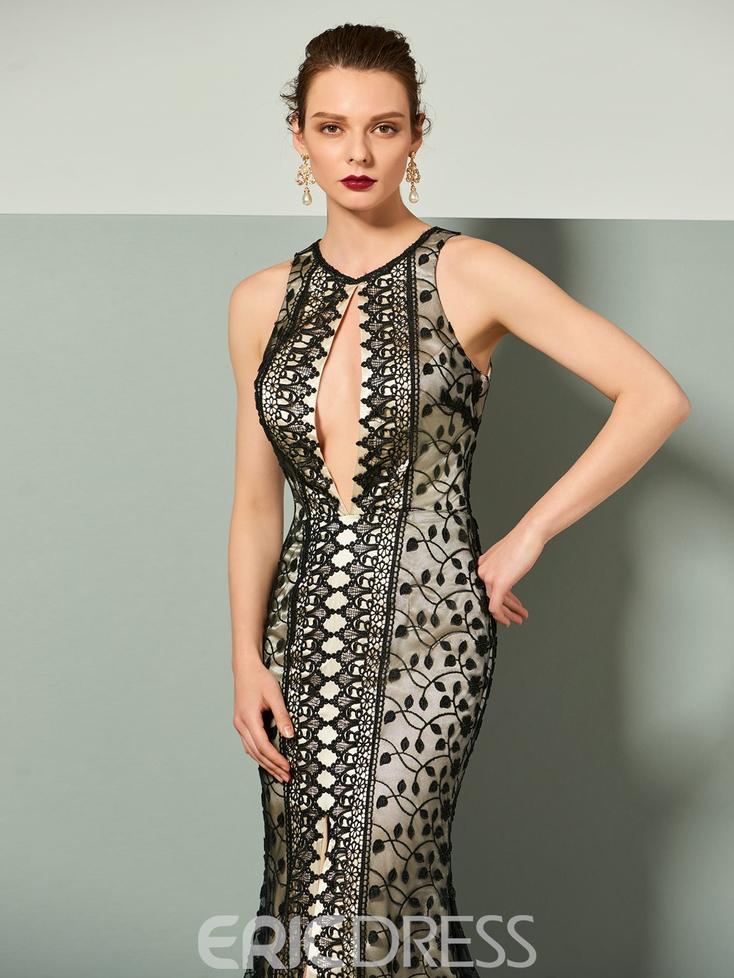 Ericdress Sexy Slit Mermaid Lace Evening Dress With Sweep Train