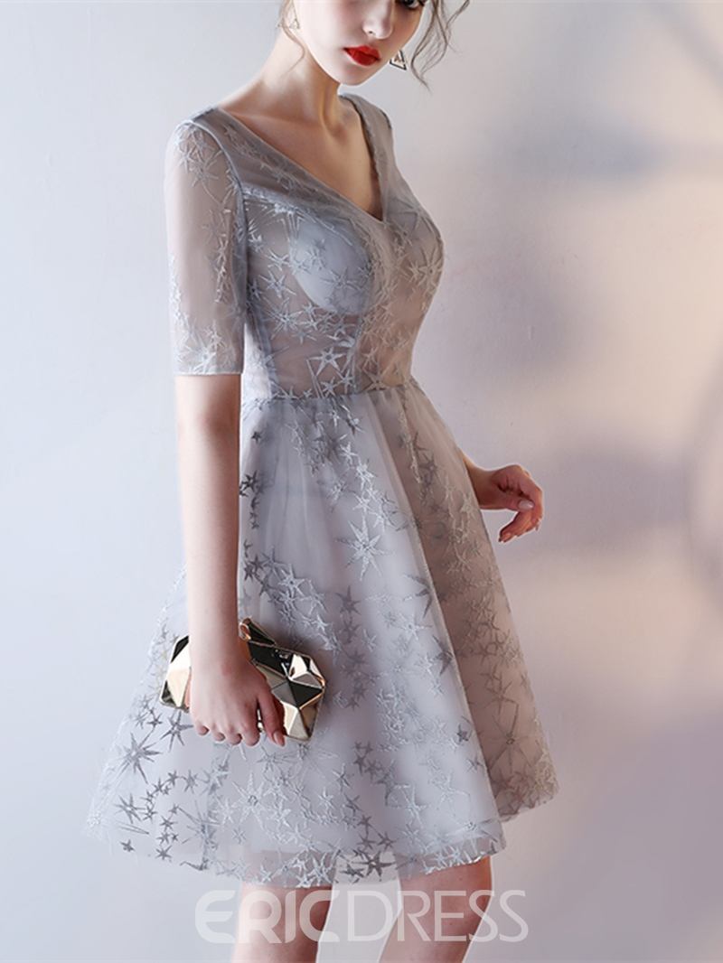 Ericdress Short Sleeve A Line Lace Homecoming Dress