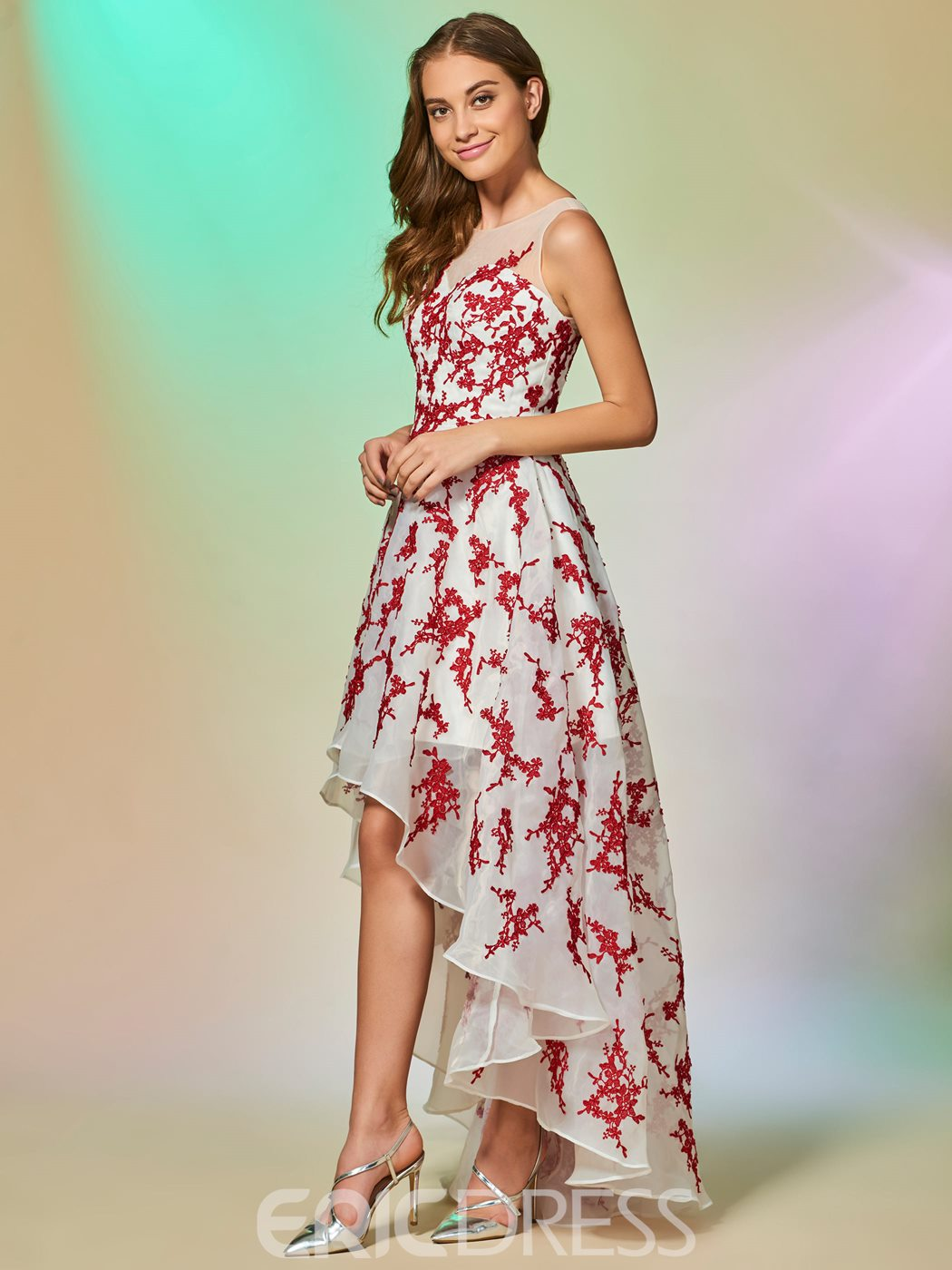 Ericdress A Line Applique High Low Asymmetry Prom Dress