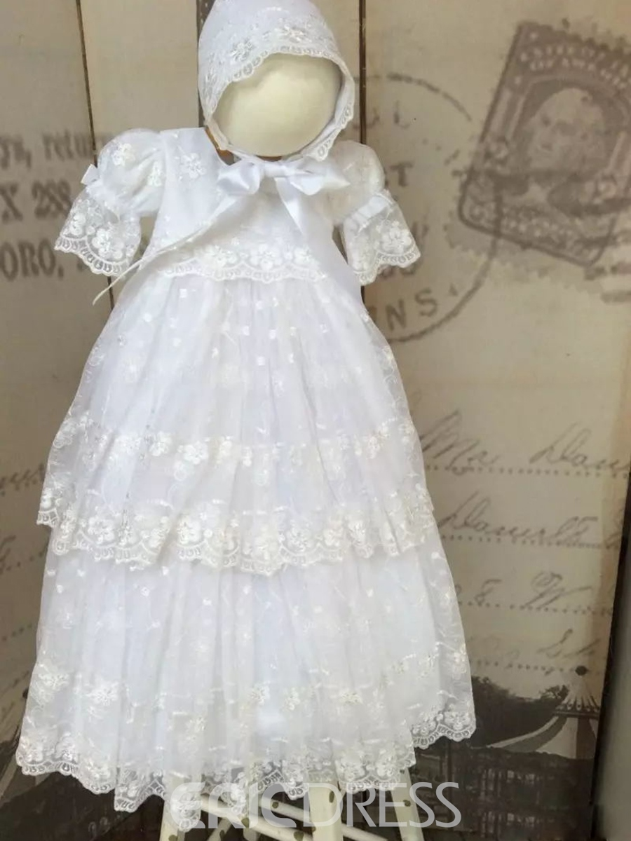 Ericdress Adorable Tulle Lace Baby Girls Baptism Dress with Bonnet ...
