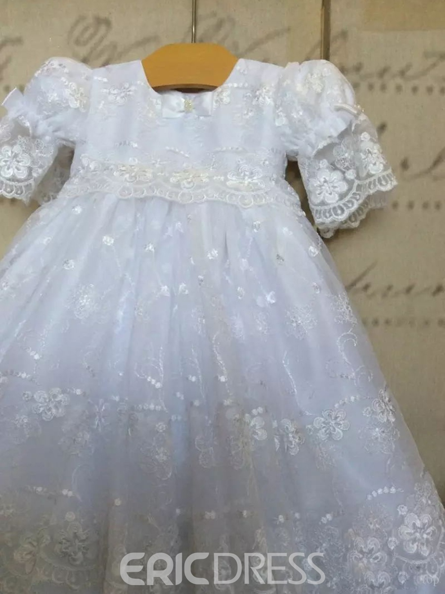 Ericdress Adorable Tulle Lace Baby Girls Baptism Dress with Bonnet