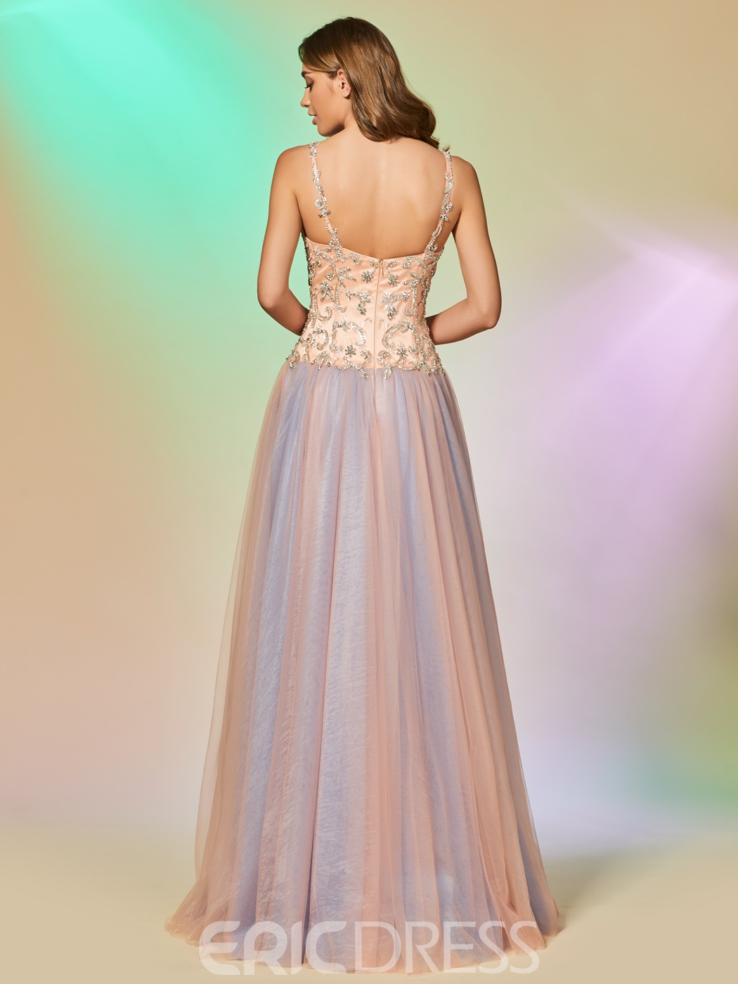 Ericdress A Line Spaghetti Straps Long Prom Dress With Beadings