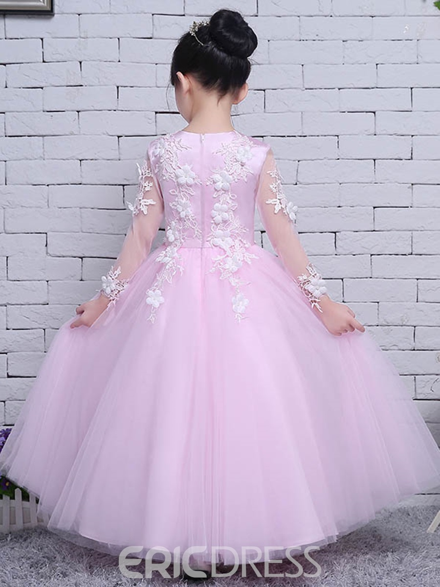 Ericdress Tulle Lace Long Sleeves Ball Gown Flower Girl Party Dress
