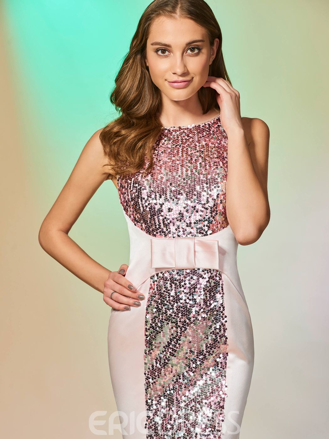 Ericdress scoop neck sequin sirma robe de bal avec bowknot