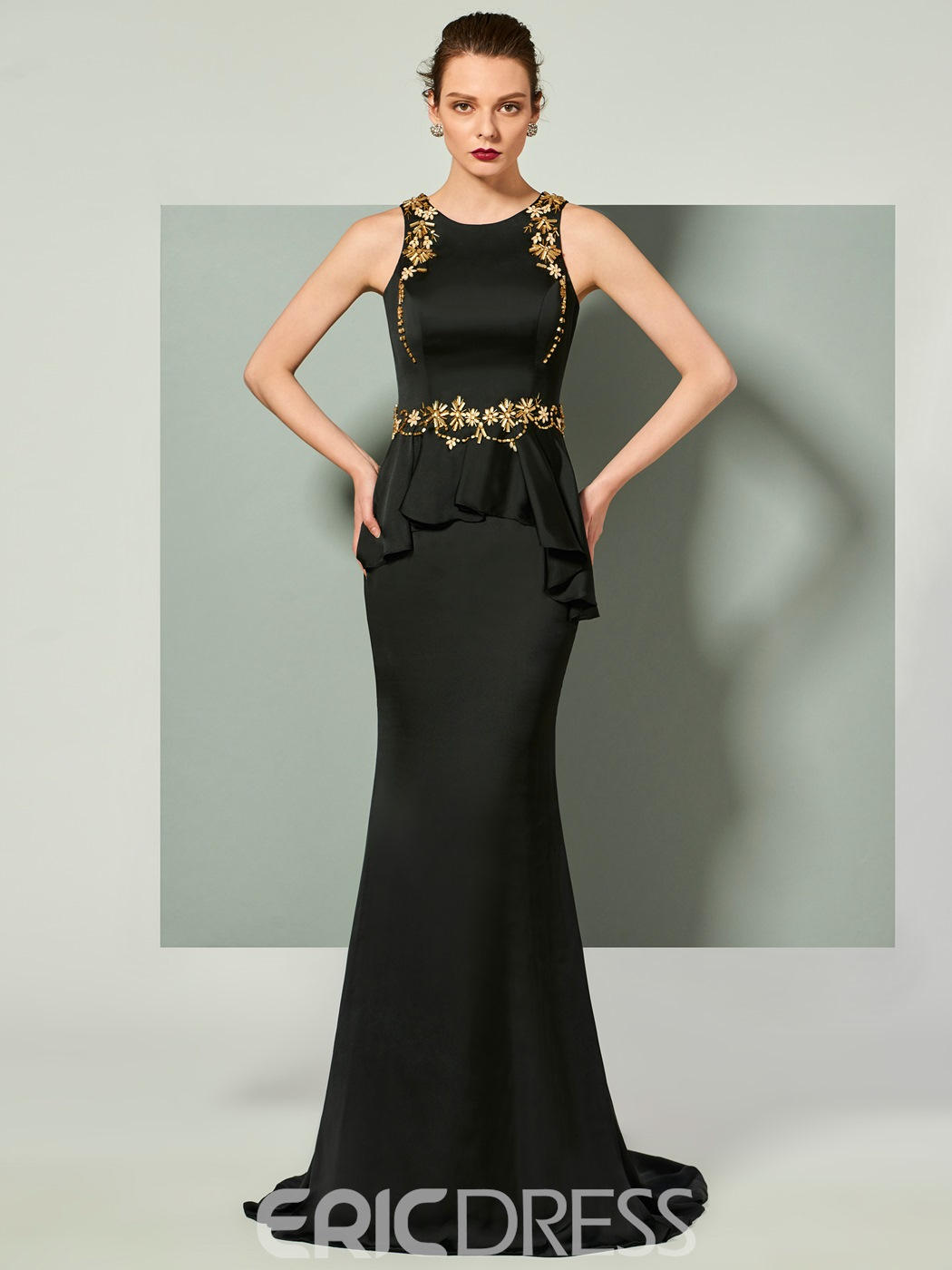 Ericdress Scoop Neck Applique Mermaid Evening Dress With Sweep Train