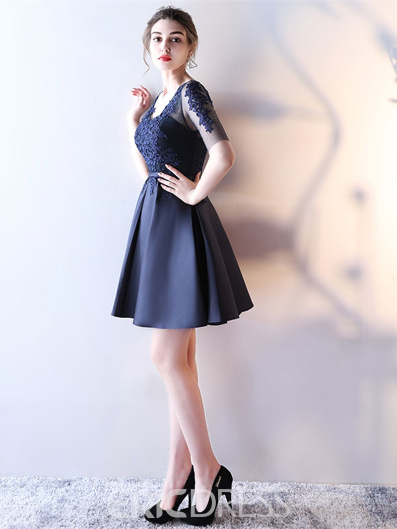 Ericdress A Line Half Sleeve Applique Short Homecoming Dress