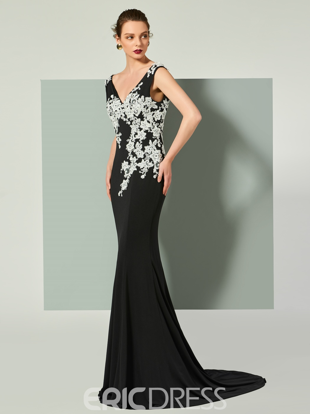 Ericdress V Neck Applique Backless Mermaid Evening Dress