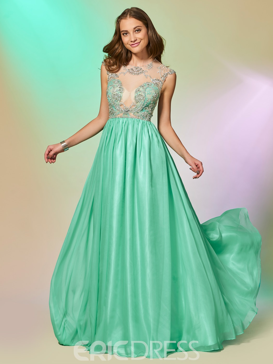Ericdress A Line Cap Sleeve Beaded Backless Prom Dress