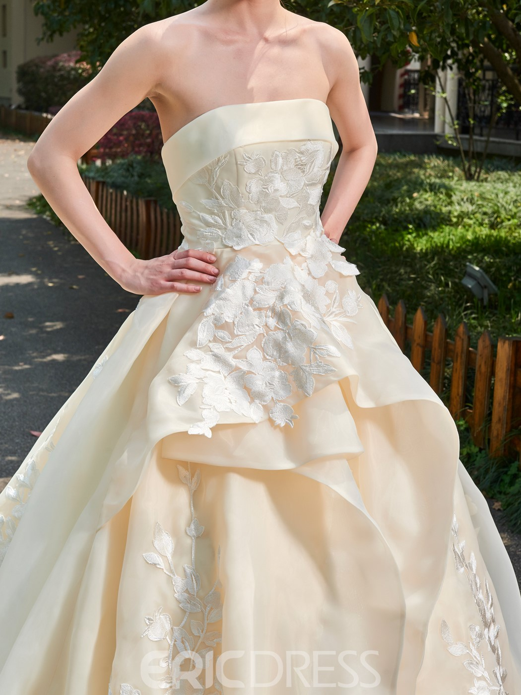 Ericdress Floral Appliques Strapless Bateau Cathedral Train Wedding Dress