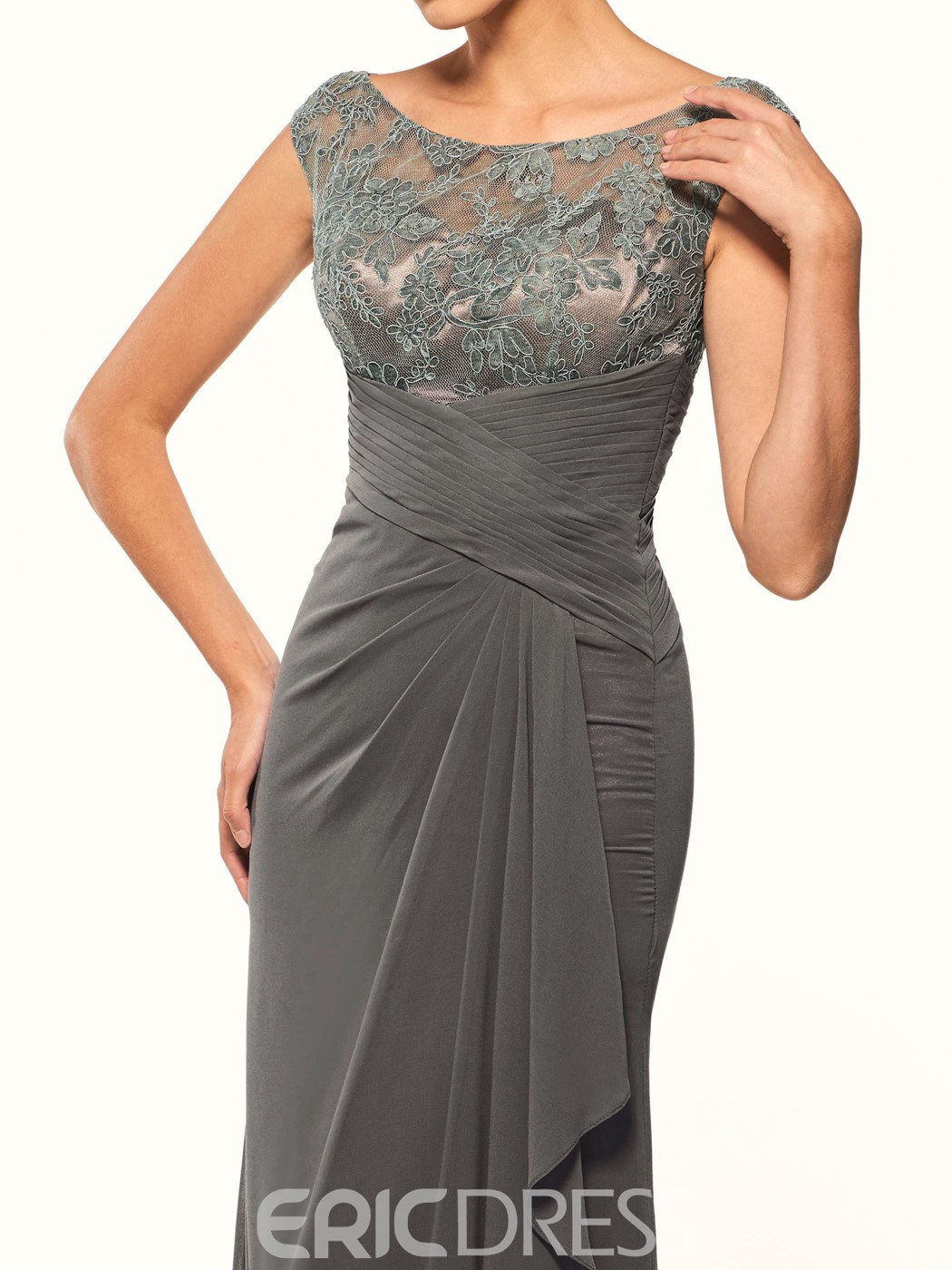 Ericdress Long Scoop Sleeveless Elegant Lace Mother of the Bride Dress